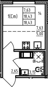 Студия, 18.43 м², от 3 этажа