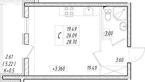 Студия, 31.31 м²