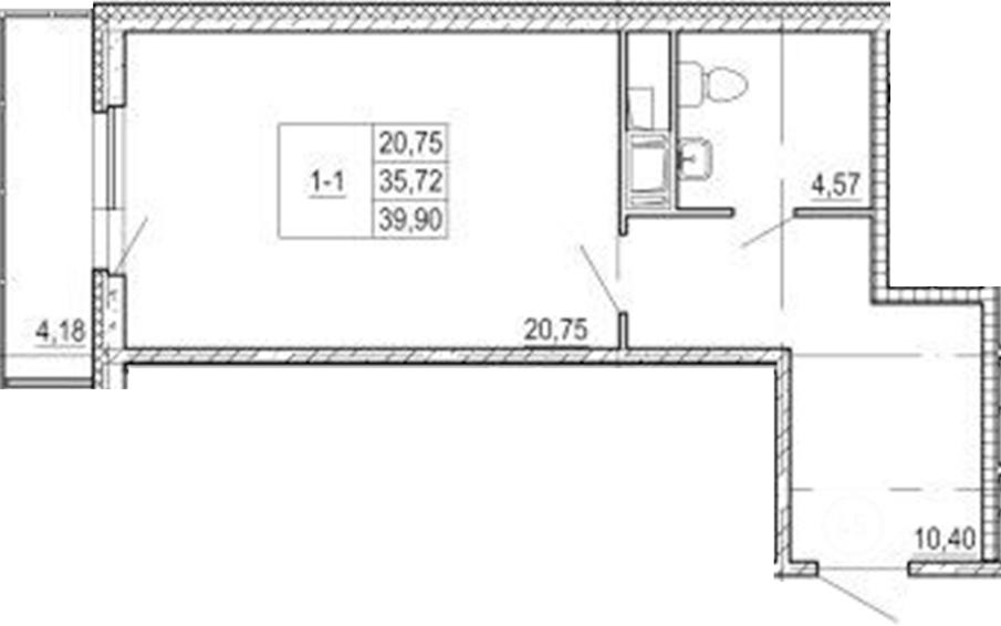 Студия, 39.9 м²