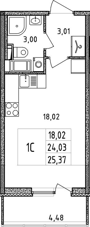 Студия, 24.03 м²