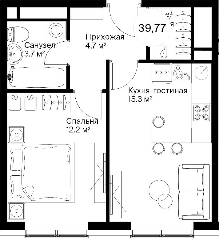 2-к.кв (евро), 39.77 м²