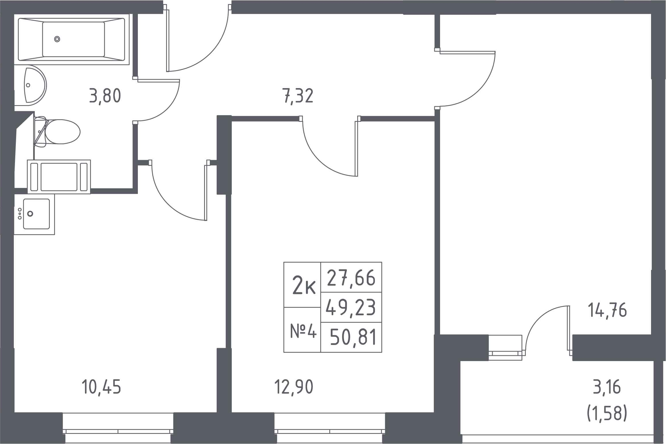 2-к.кв, 50.81 м², 13 этаж