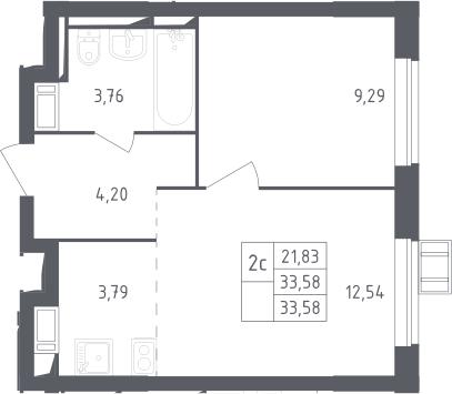 2Е-к.кв, 33.58 м²