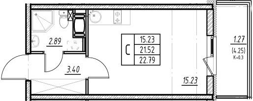 Студия, 21.52 м²– 2