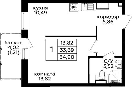 1-комнатная, 34.9 м²– 2