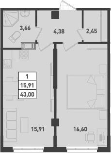1-к.кв, 43 м², от 2 этажа