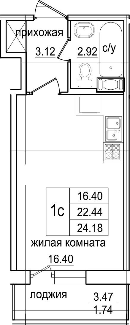 Студия, 24.18 м², 9 этаж