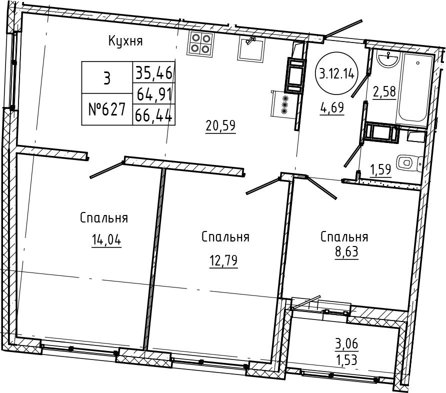 4Е-к.кв, 66.44 м², 12 этаж
