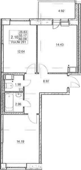 3Е-к.кв, 55.17 м²