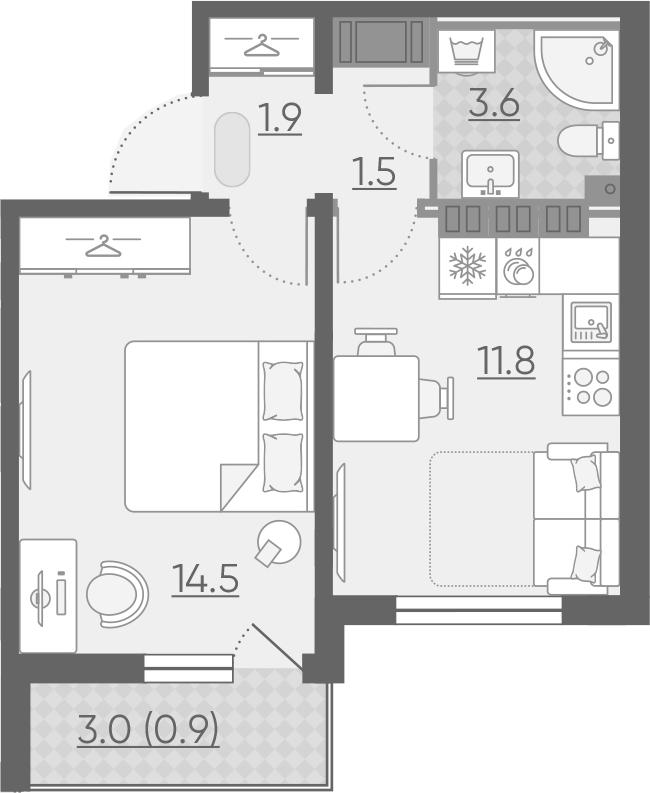 1-к.кв, 34.2 м², 14 этаж