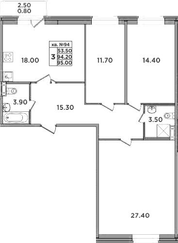 4-к.кв (евро), 96.7 м²