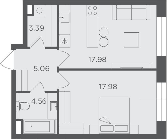 1-к.кв, 48.97 м²