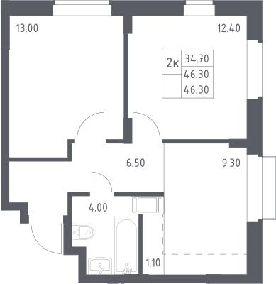 2-к.кв, 46.3 м²