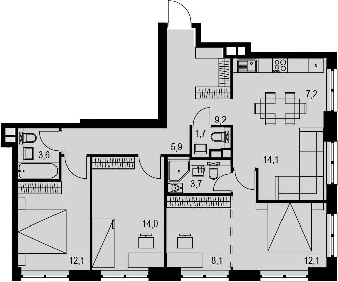 4Е-к.кв, 91.7 м², 5 этаж