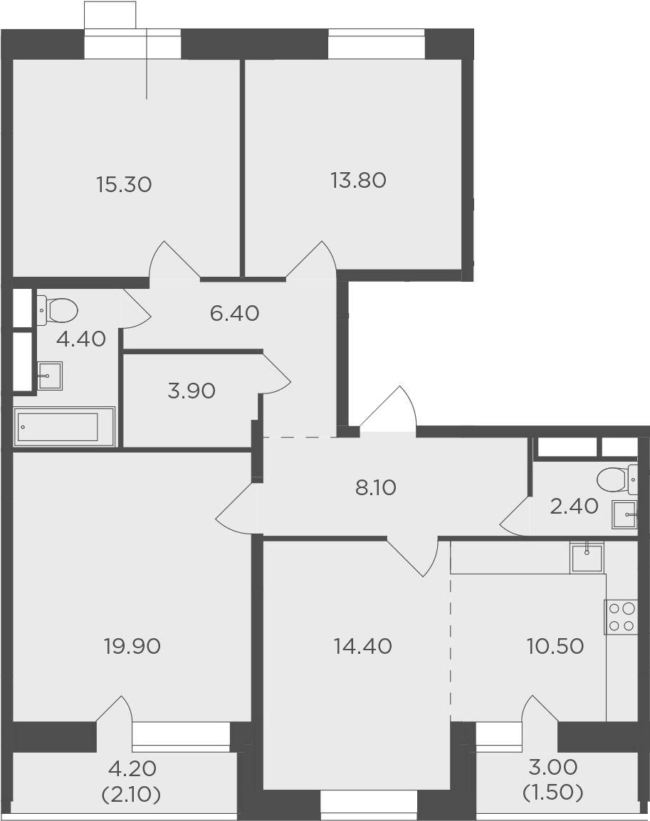4-комнатная квартира, 102.7 м², 15 этаж – Планировка