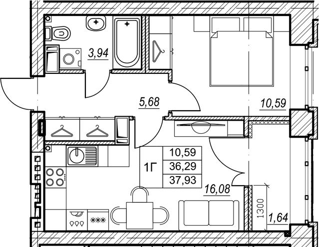 1-к.кв, 37.93 м², от 5 этажа