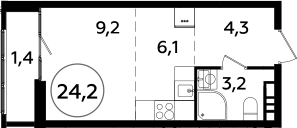 Студия, 24.2 м²– 2