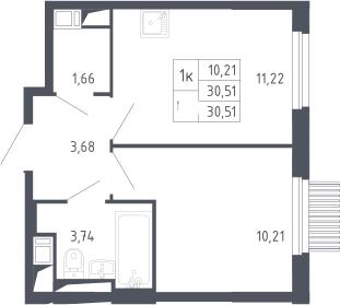 1-к.кв, 30.51 м², 13 этаж