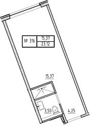 Студия, 23.12 м²