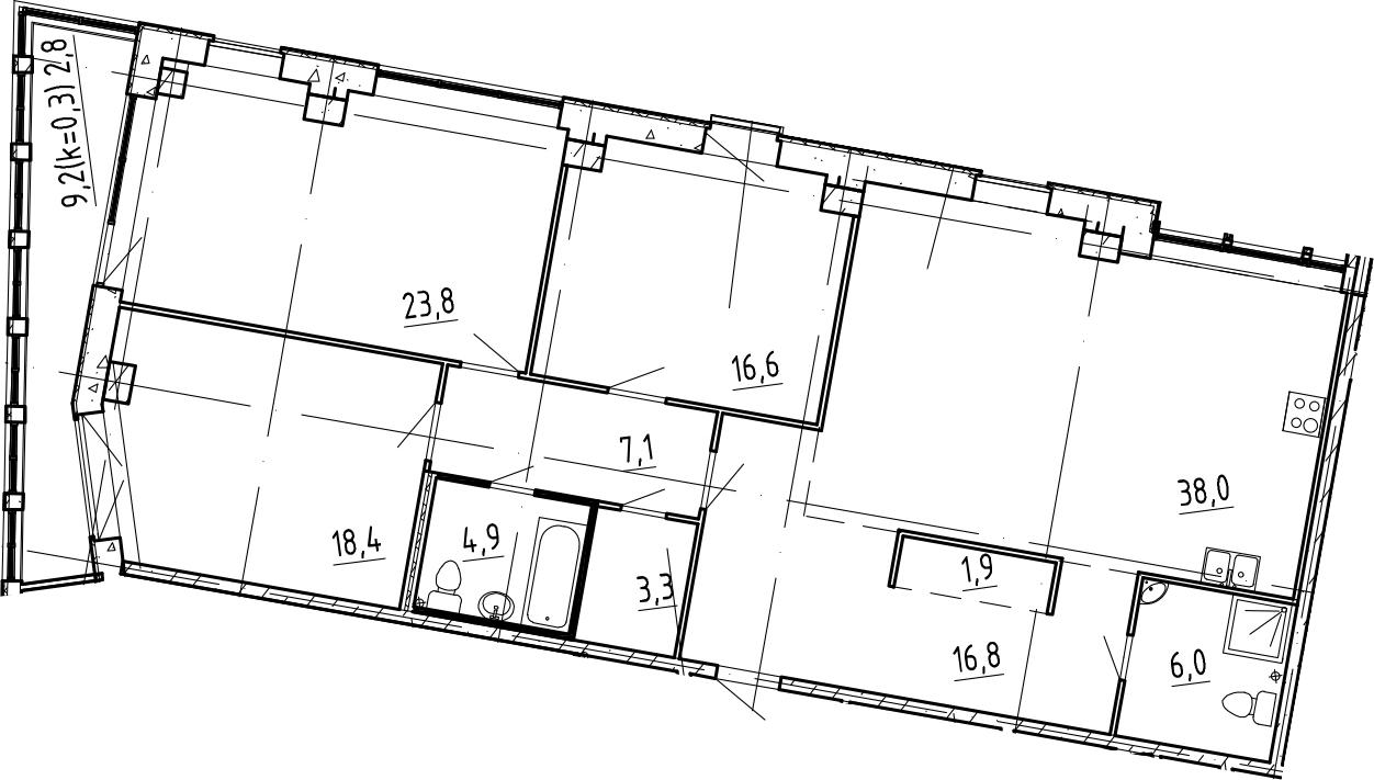 4Е-комнатная, 139.6 м²– 2