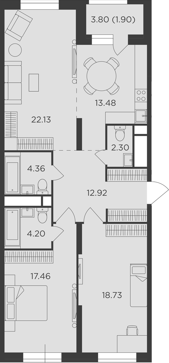 3-к.кв, 97.48 м²