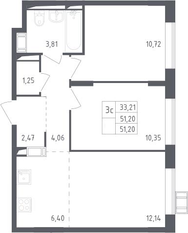 3Е-к.кв, 51.2 м², 9 этаж