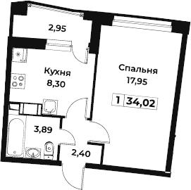 1-комнатная, 34.02 м²– 2