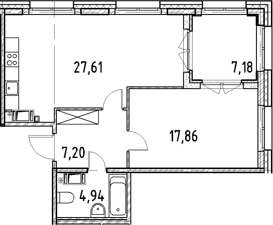 2Е-комнатная, 57.61 м²– 2