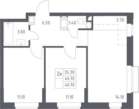 3Е-к.кв, 49.7 м²