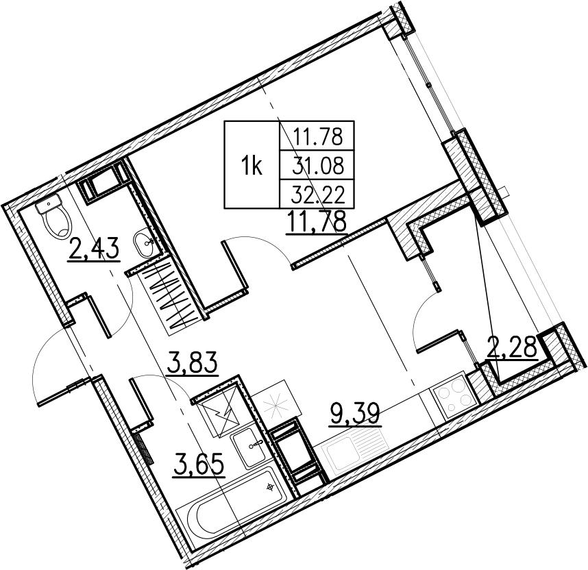 1-комнатная, 32.22 м²– 2