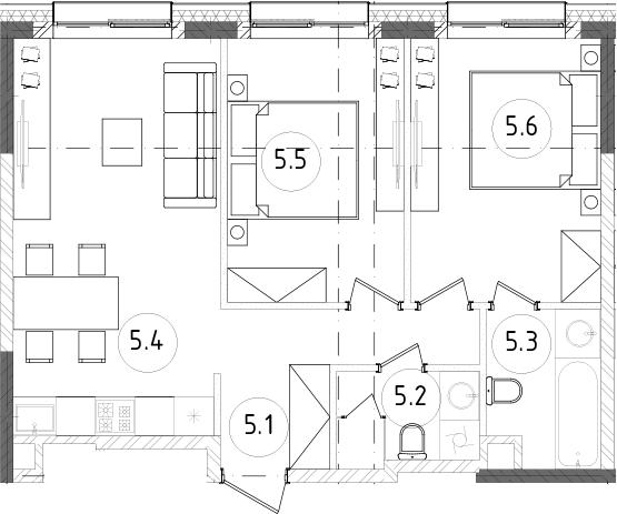3Е-к.кв, 54.61 м², 9 этаж