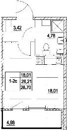 Студия, 31.19 м²