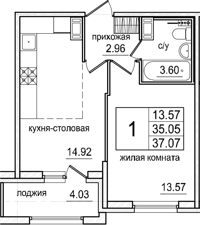 2-к.кв (евро), 39.08 м²