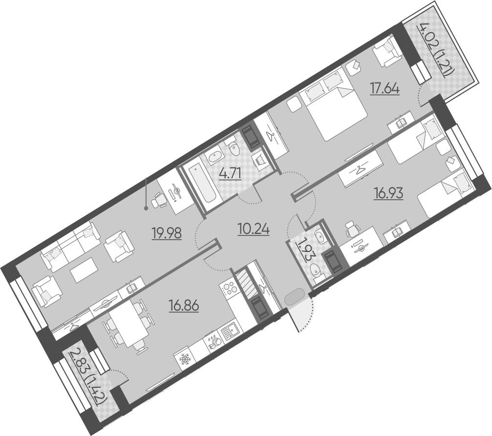 3-к.кв, 95.16 м²