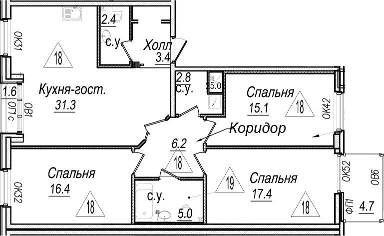 4Е-комнатная квартира, 102.2 м², 5 этаж – Планировка