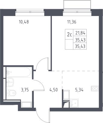 2Е-к.кв, 35.43 м², 6 этаж