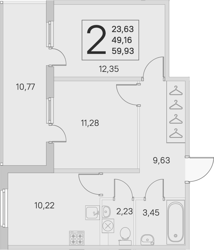 2-комнатная, 49.16 м²– 2