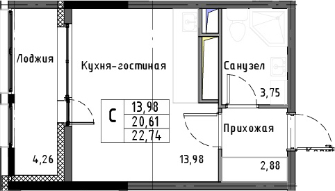 Студия, 22.74 м²– 2