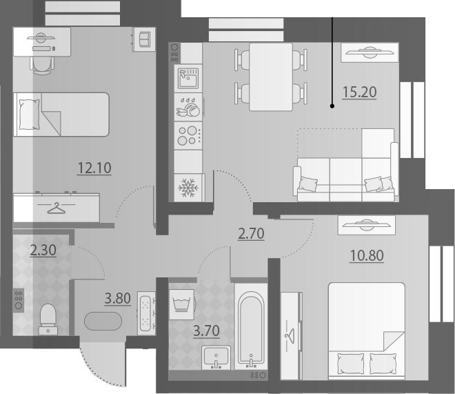 3-к.кв (евро), 50.6 м²