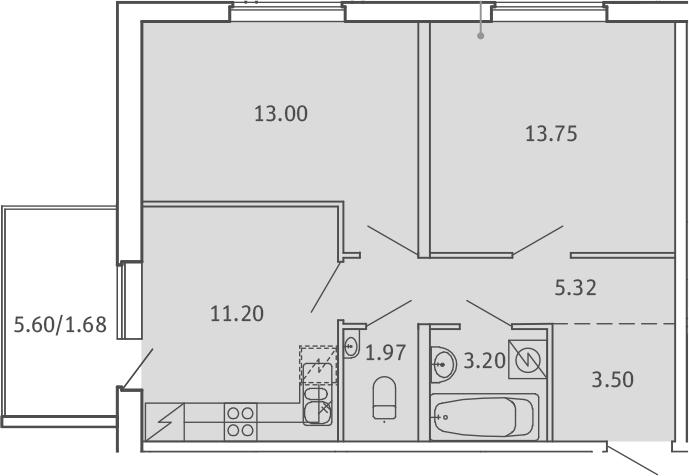 2-к.кв, 53.62 м²