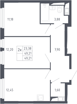 2-к.кв, 49.21 м²