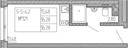 Студия, 16.28 м²– 2