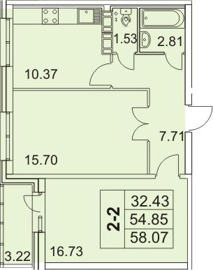2-к.кв, 61.29 м²