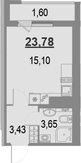 Студия, 23.78 м²– 2