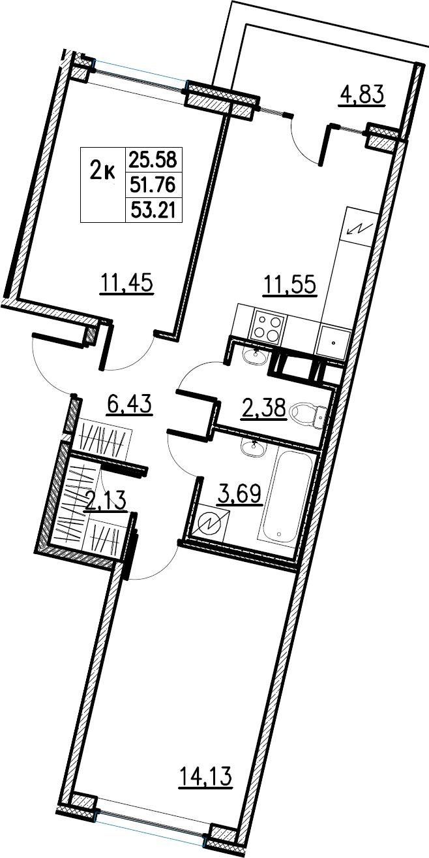 2-комнатная, 53.21 м²– 2