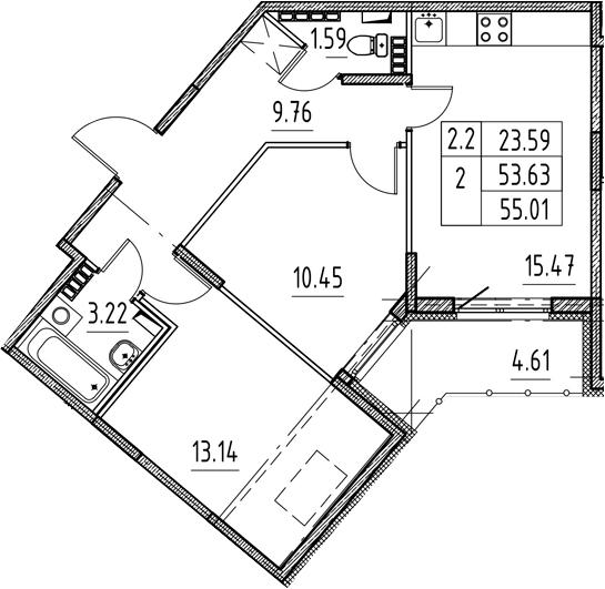 3Е-комнатная, 53.63 м²– 2