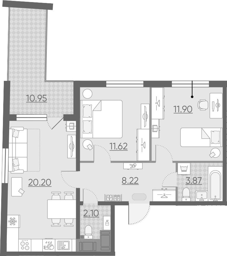 3Е-комнатная, 63.39 м²– 2