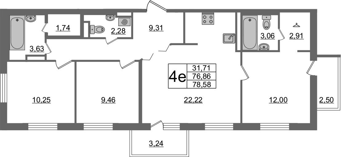 4Е-комнатная, 78.58 м²– 2