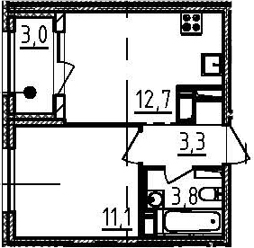 1-к.кв, 32.4 м², от 6 этажа