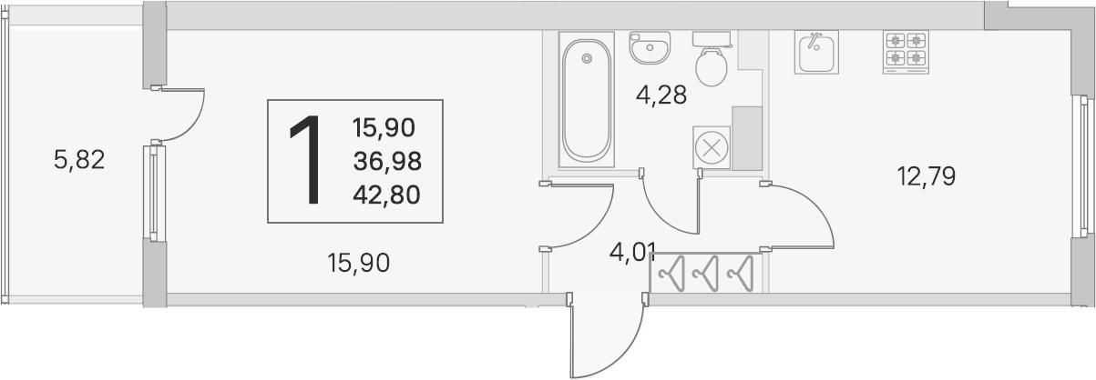 1-к.кв, 36.98 м², 4 этаж